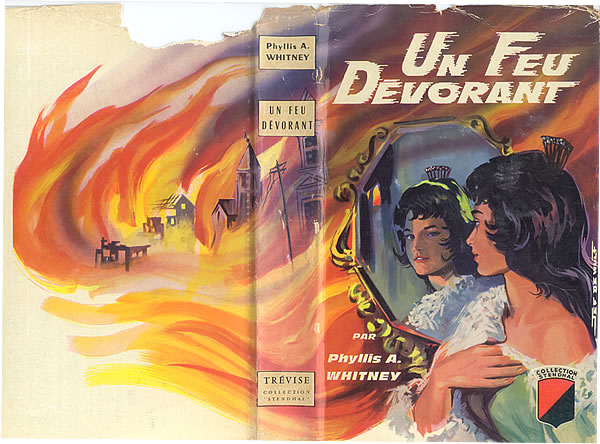 Book jacket depicting Sara Jerome wearing a white lace mantilla (or scarf) around her shoulders and a tortoise-shell comb once belonging to her spanish ancestor, its fanlike back shimmering with rhinestones. As Sara gazes into a mirror, unseen by her walls of flames surround her in a foreshadowing of the devastation to come with the San Francisco earthquake of 1906. (IIllustration by Jef de Wulf/Rene Brantonne)
